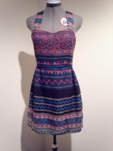 Hmong Dress blue pink print sweetheart dress with straps